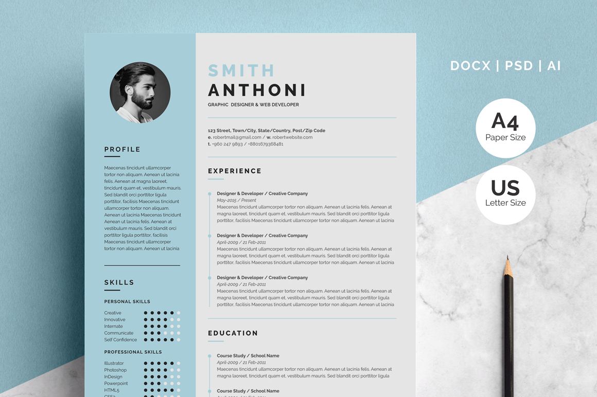 2 Pages Resume Template – Free Resumes, Templates | pixelify.net