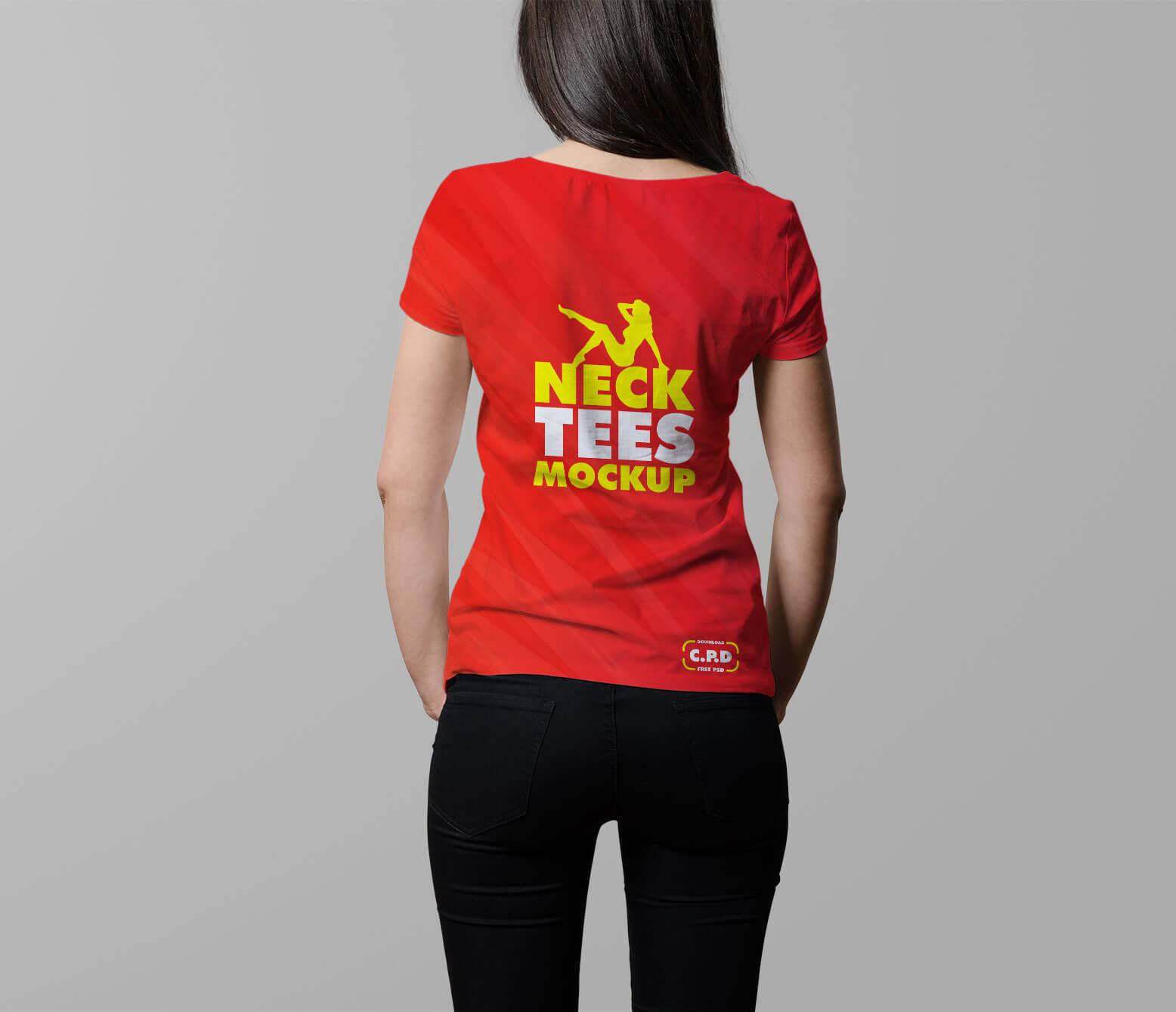 V Neck Female T Shirt Mockup Free Psd Free Apparel Mockups Pixelify Net