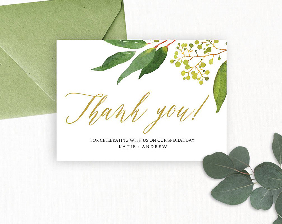 Wedding Thank You Card Editable