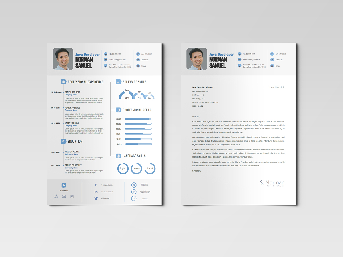 Best - Infographic Resume Template with Cover Letter – Free ...