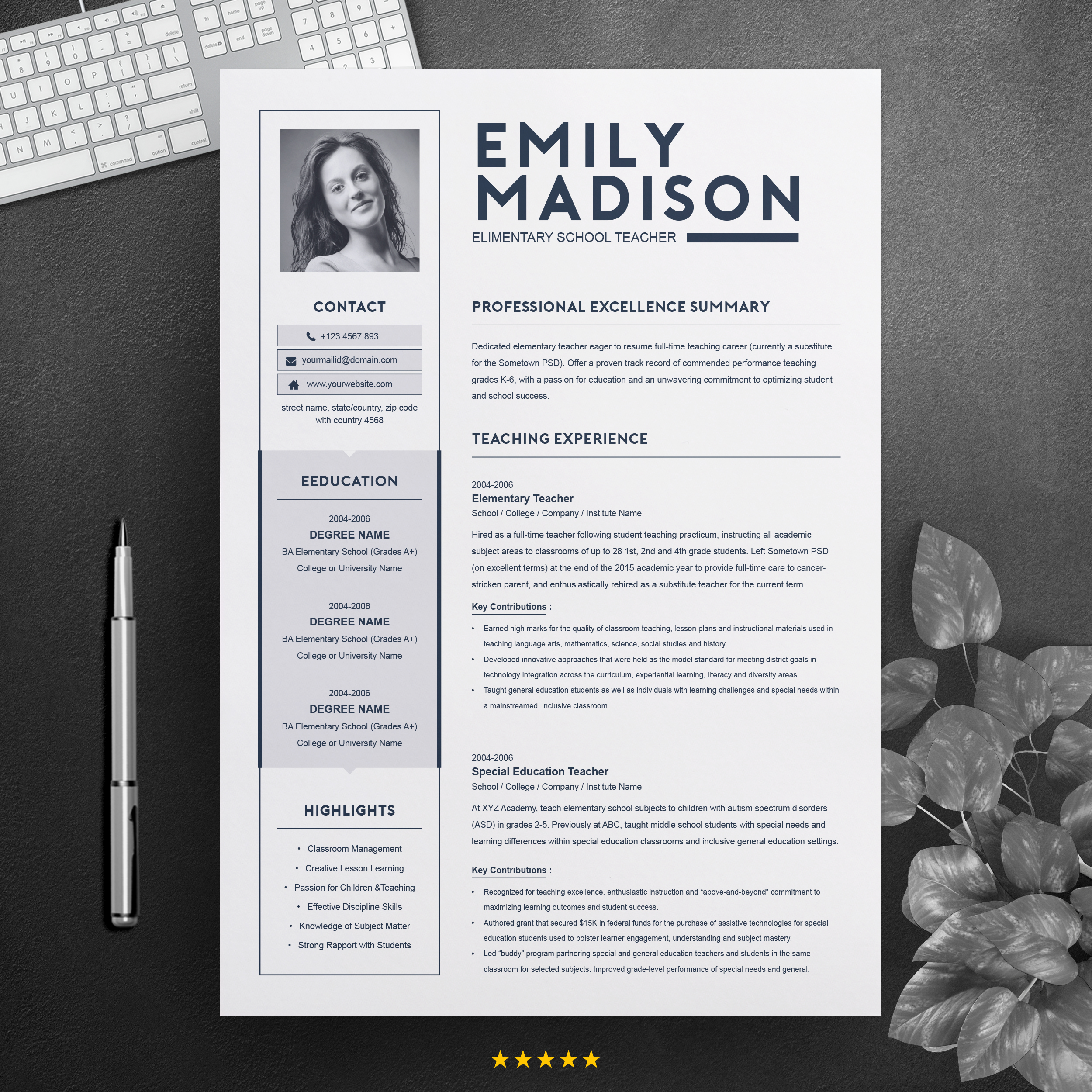 Teacher Resume Template For Ms Word Free Resumes Templates