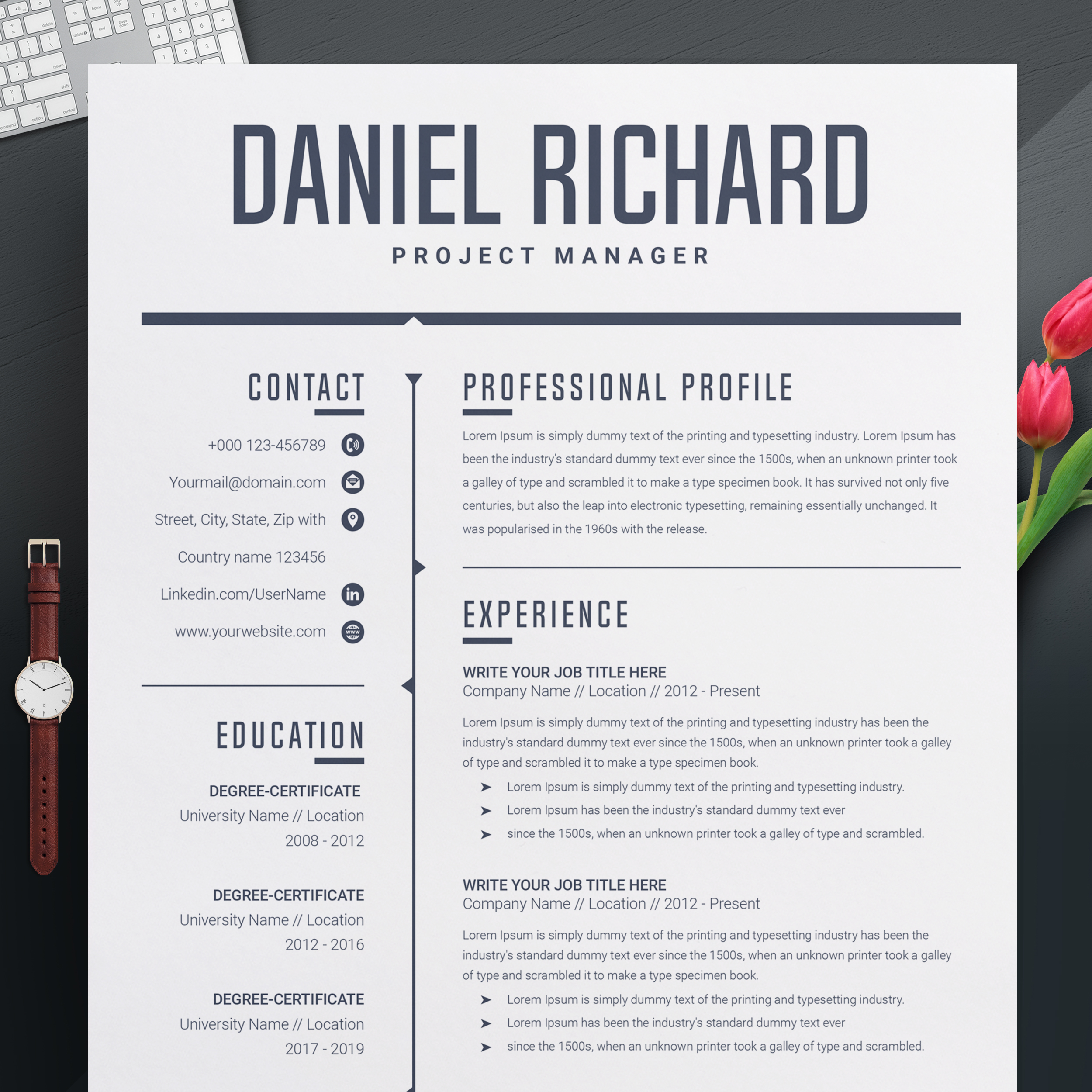 Modern Resume Template Cv Template Cover Letter Free Resumes