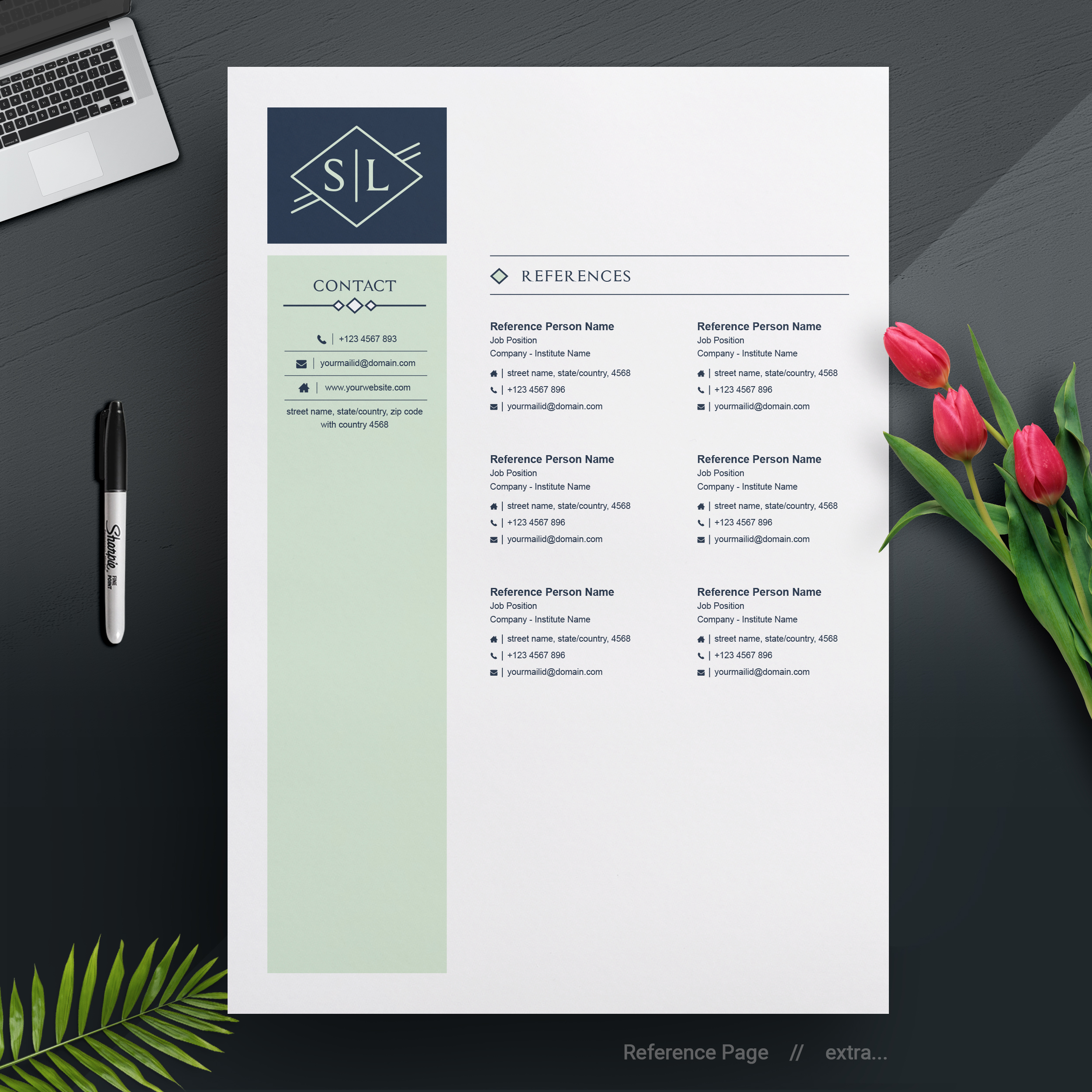 Professional Modern Resume Design Template For Word Pages
