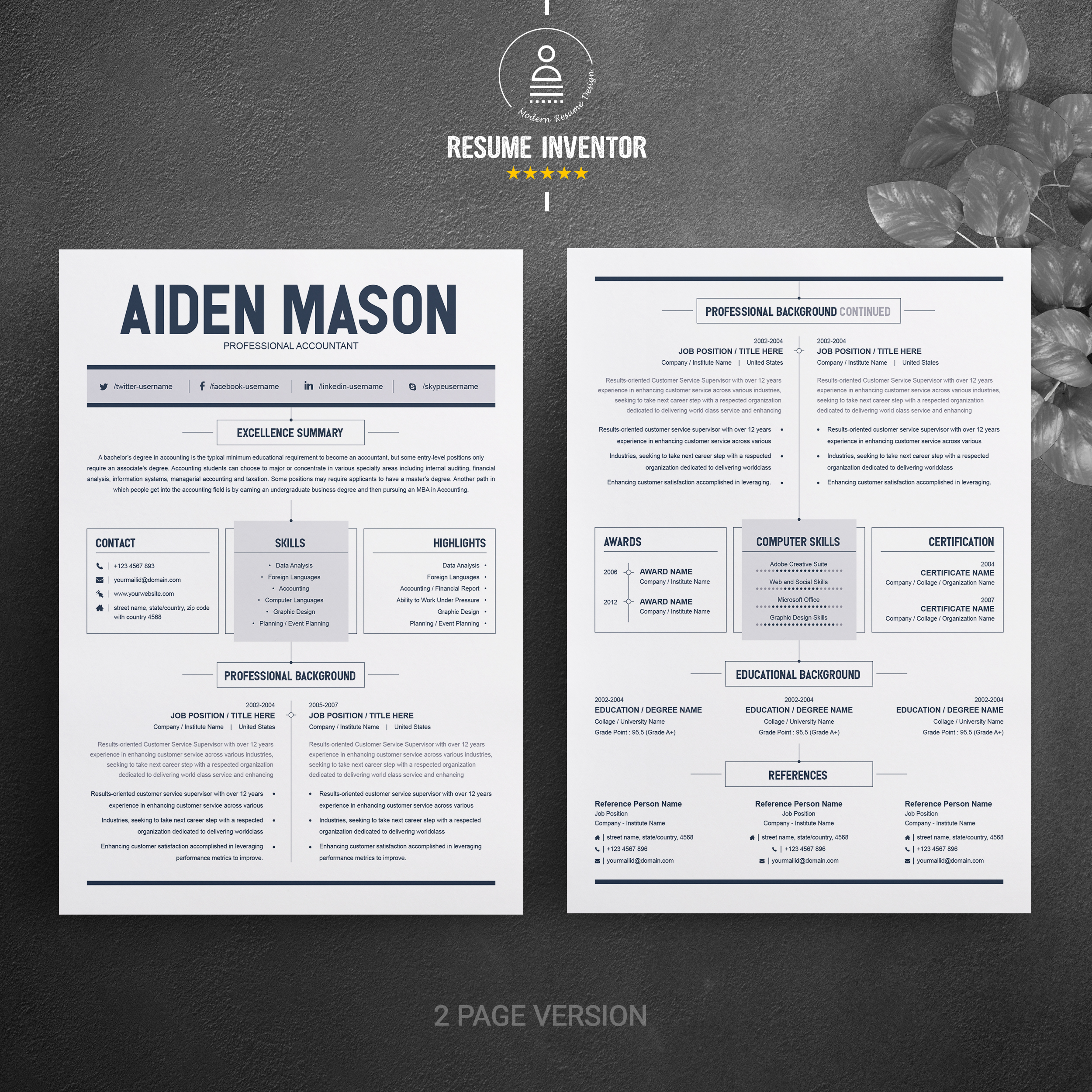 2 Page Resume Template Free Resumes Templates Pixelify Net