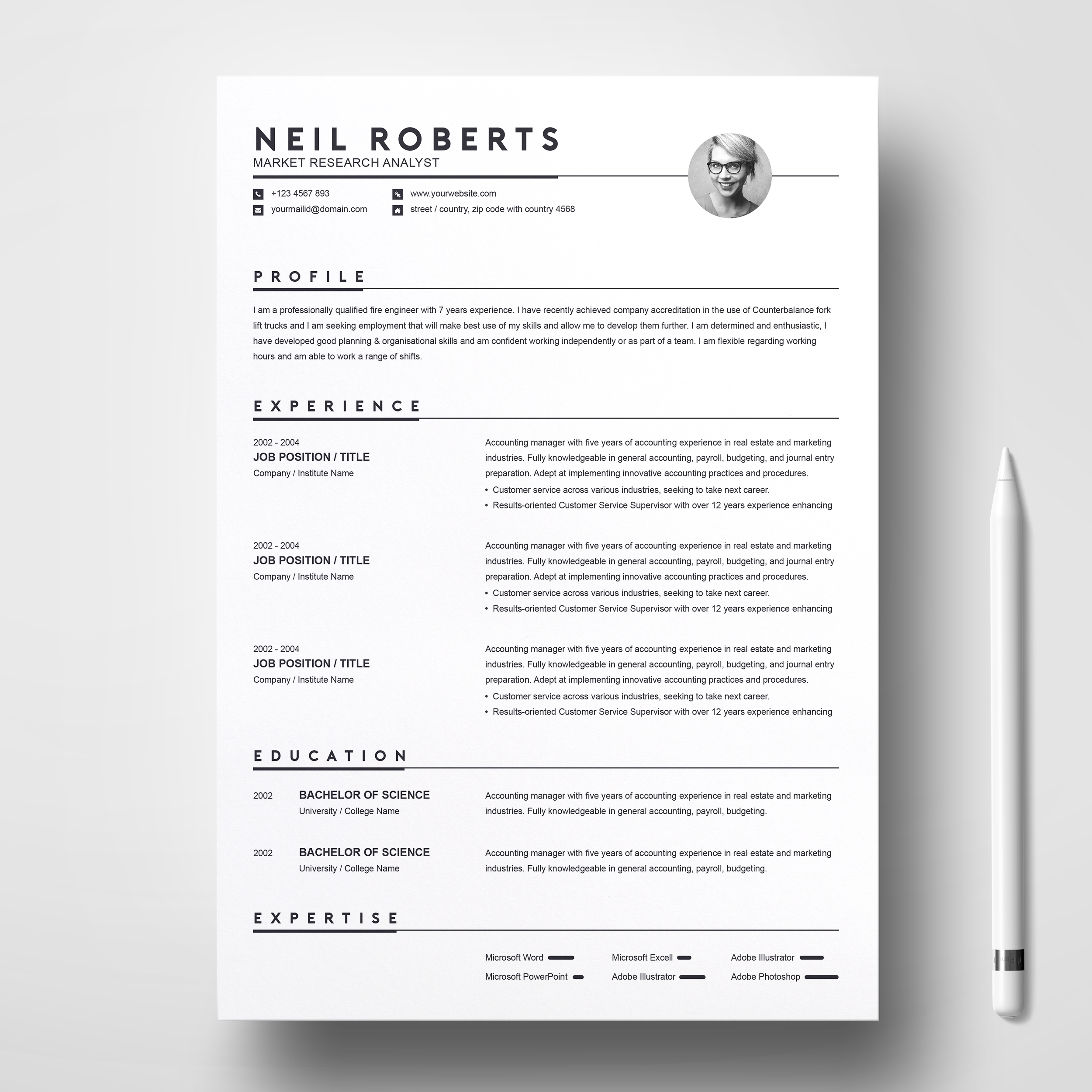 Clean Resume Template Word Resume Cv Cover Letter Free