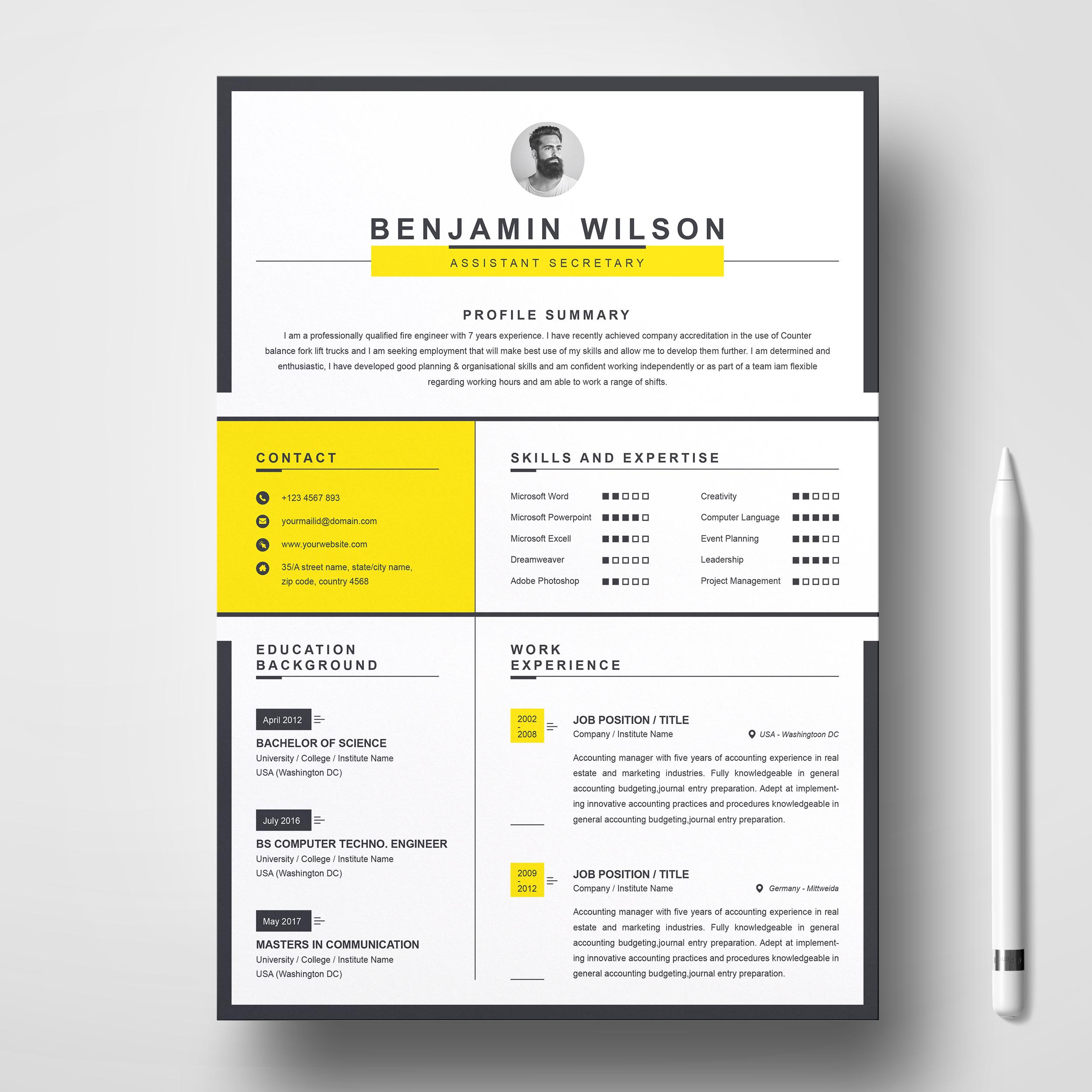 Clean Minimal Resume Template Free Resumes Templates