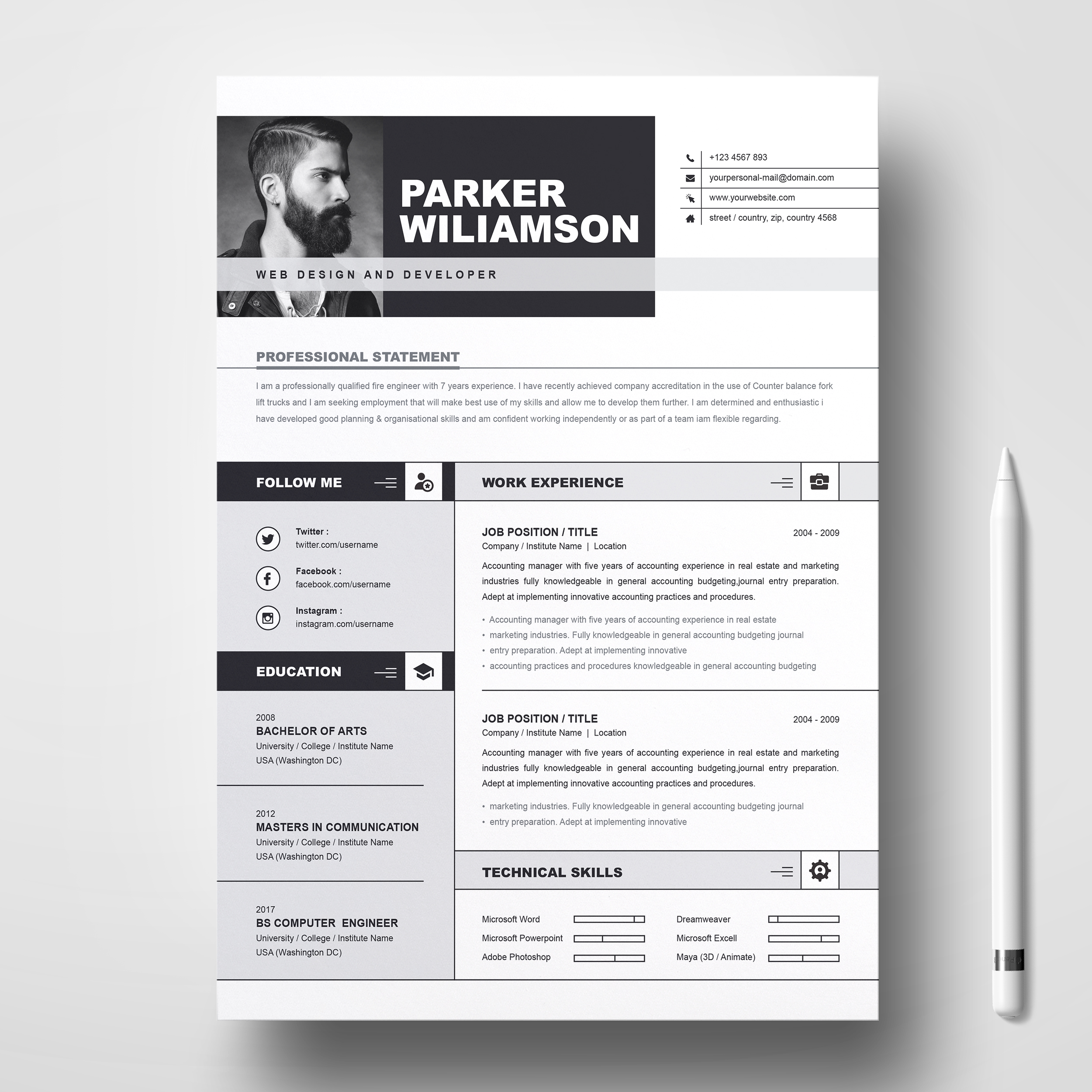 CV + Cover Letter – Free Resumes