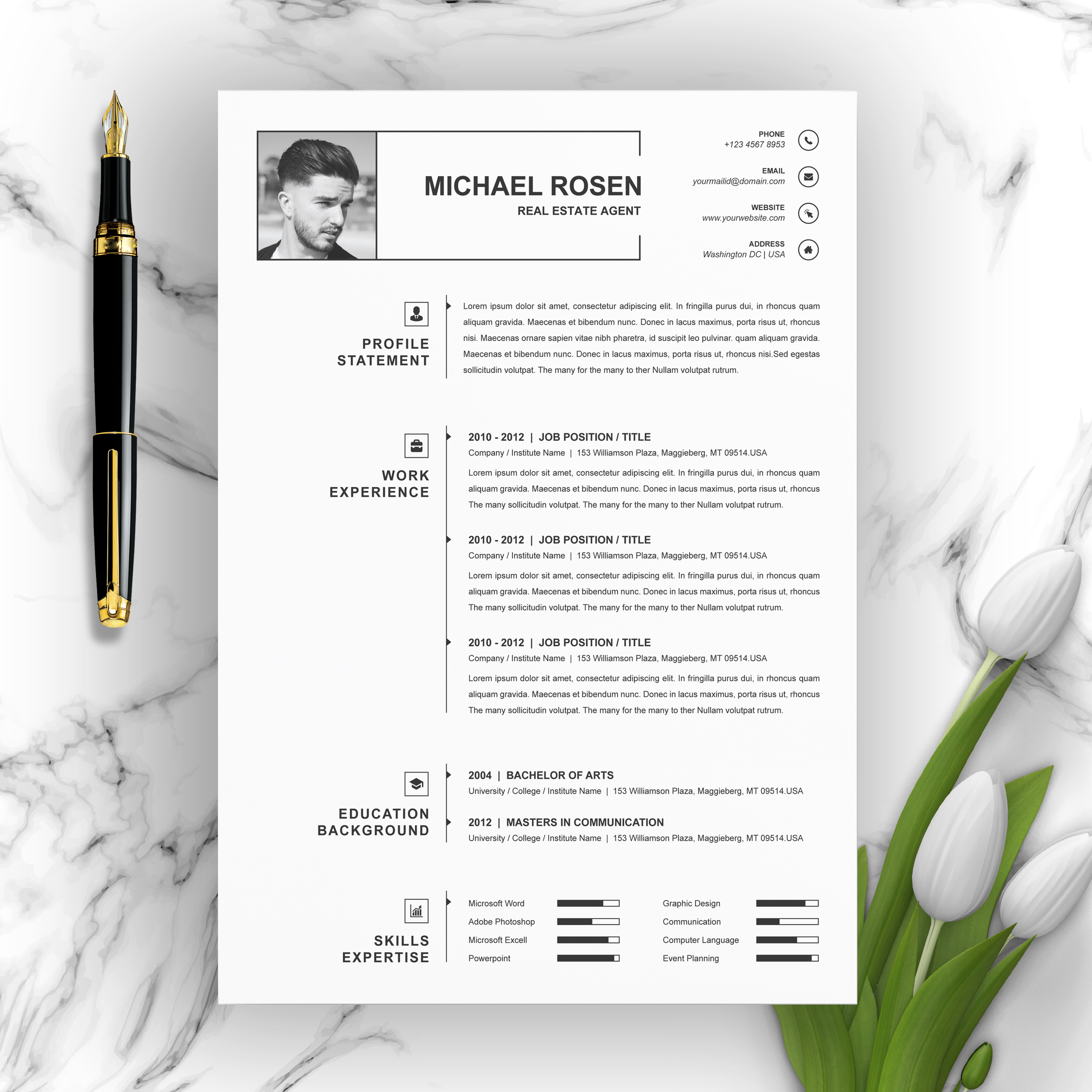 One Page Clean Resume Cv Template Free Resumes Templates