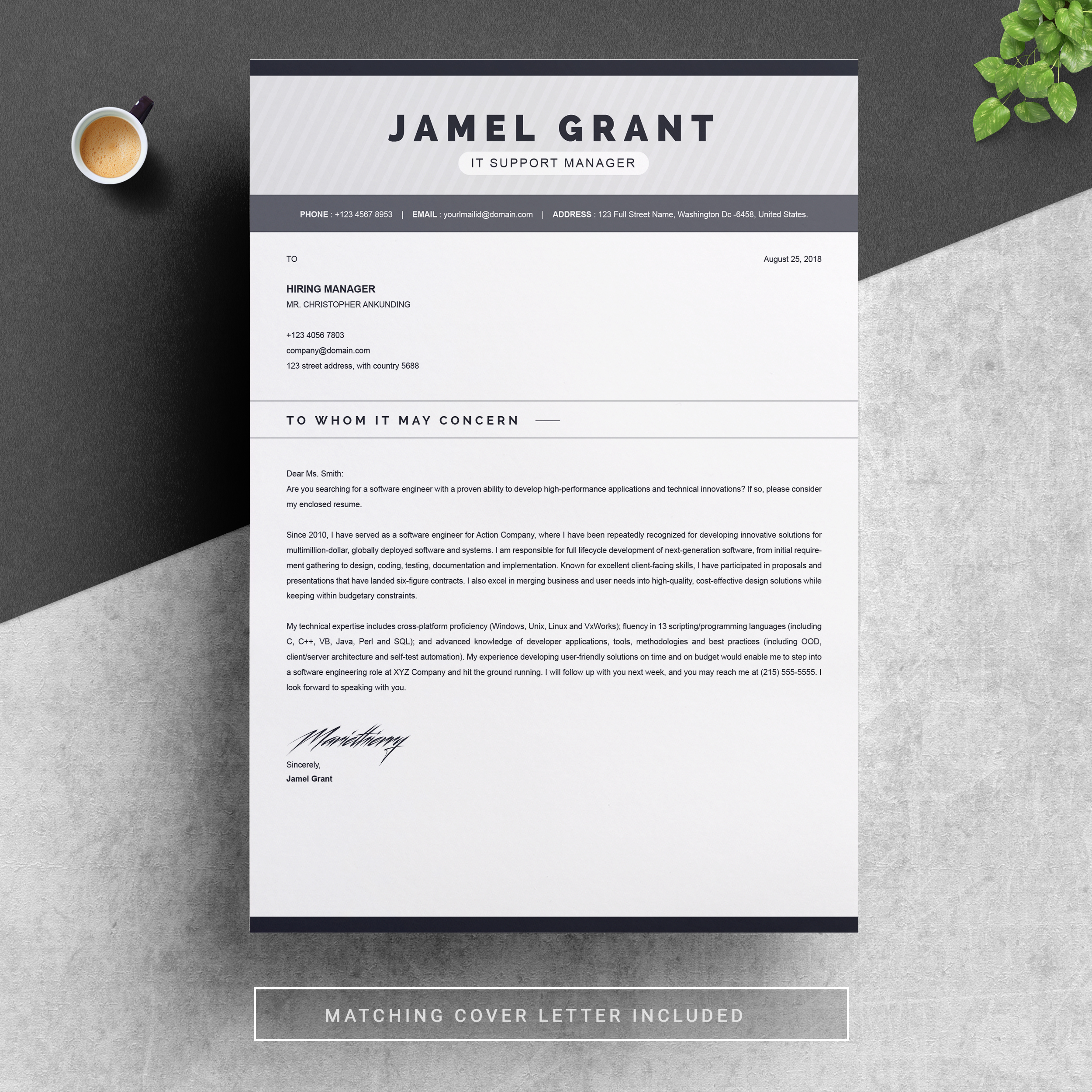 One Page Creative Resume Template With Cover Letter Free Resumes Templates Pixelify Net